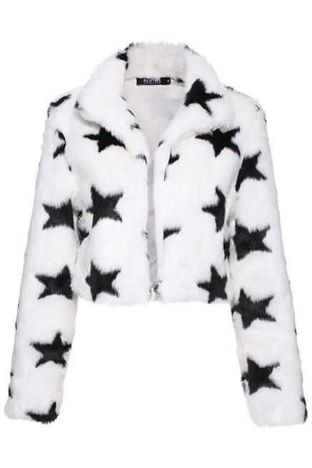 star-print fur coat
