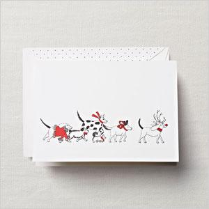 Holiday dog parade greeting card