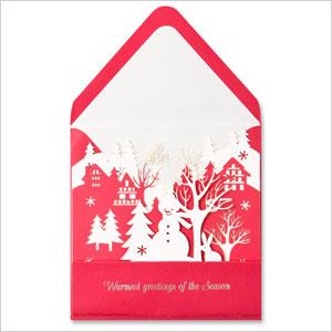 Laser cut snowmen greeting card