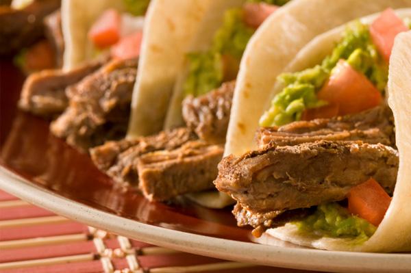 Steak fajitas with guacamole