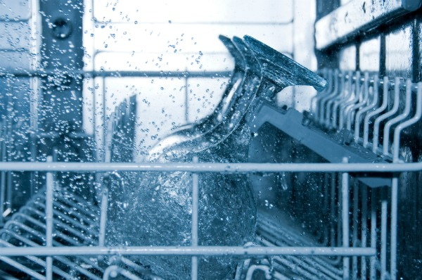 stemware in running dishwasher