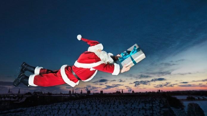 Julemand, jul, gaver, udbringning, flyve, by,