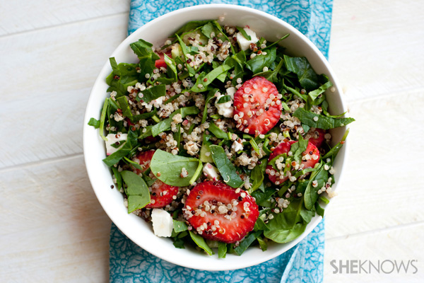 Strawberry basil quinoa salad with champagne vinaigrette