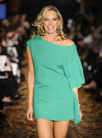 Jaime Harlock wearing a Ramy Brook one shoulder mini dress in mint, one of this Spring's hottest hues.