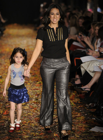 """Melissa Gernstein (with her daughter), co-owner of """"The Moms"""" in a look from Tory Burch that can easily go from work to play date to happy hour!"""