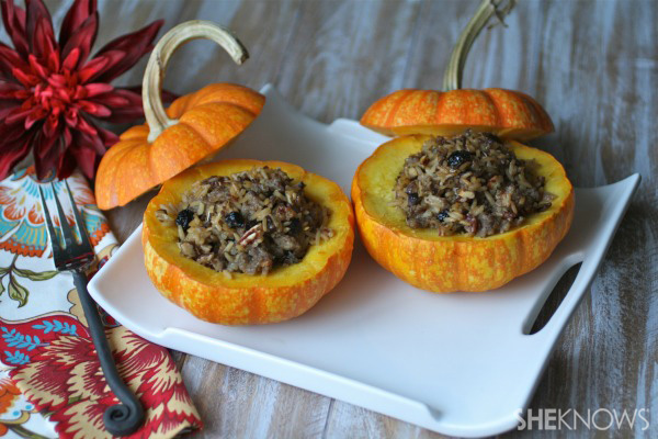Wild rice and sausage-stuffed mini pumpkins