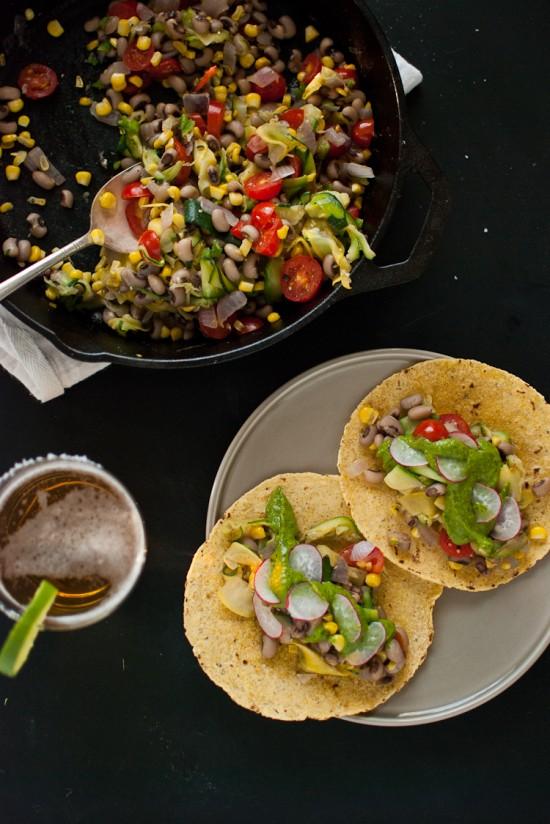 Summer squash tacos with avocado chimichurri