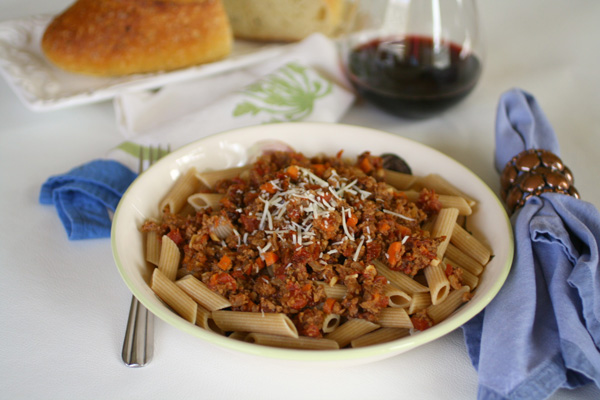 Penne Bolognese with Sun Dried Tomatoes
