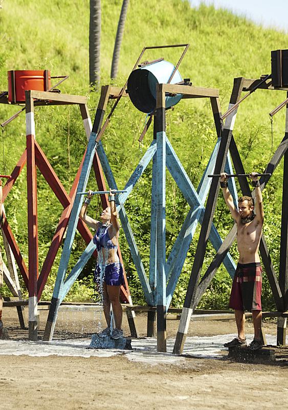 Sunday Burquest and Adam Klein compete on Survivor: Millennials Vs. Gen-X