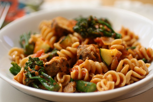 Sunday Dinner: Whole-wheat pasta with grilled vegetables and sausage
