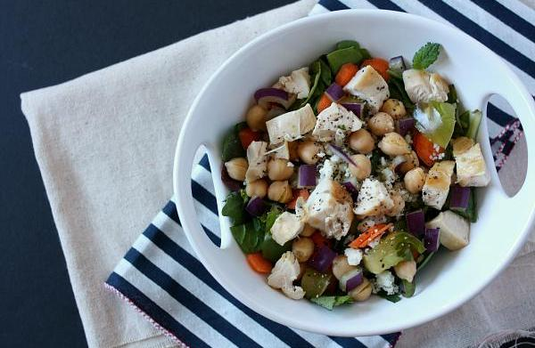 Chicken, chickpea and avocado chopped salad