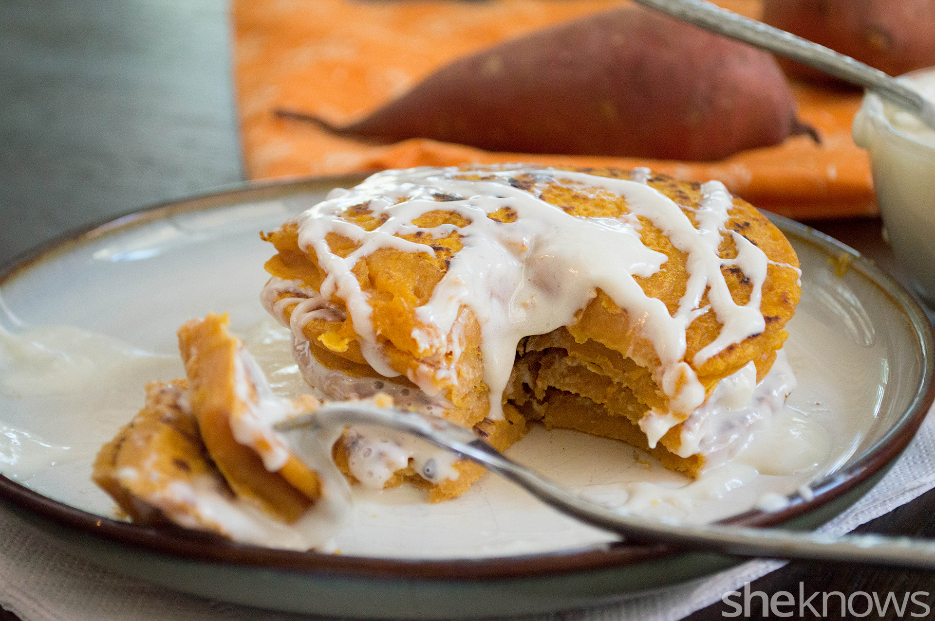 gluten-free sweet potato pancake stack