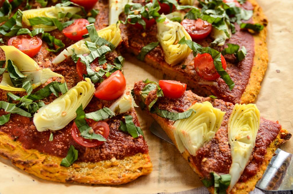 vegan sweet potato crust pizza