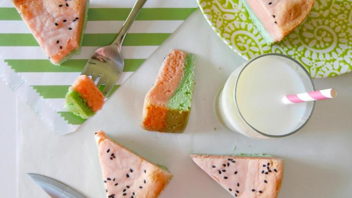 Watermelon blondie bars that look and