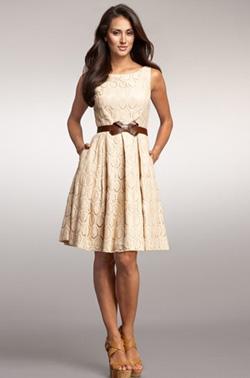 tan oval lace dress