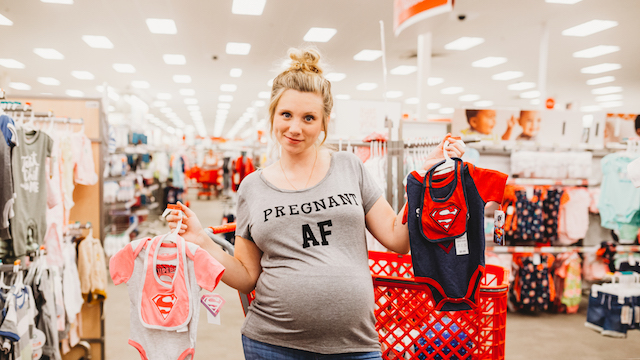 Pregnant mom doing photo shoot in Target.