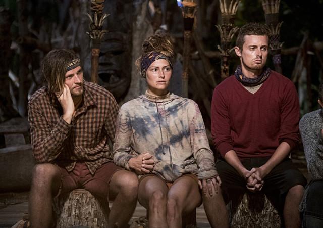 Taylor Stocker, Jessica 'Figgy' Figueroa and Adam Klein at Tribal Council on Survivor: Millennials Vs. Gen-X