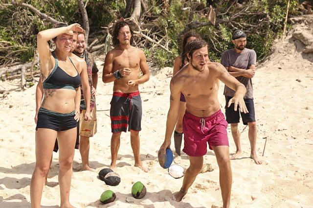 Castaways play games at camp on Survivor: Millennials Vs. Gen-X
