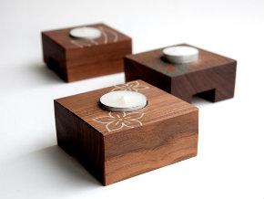 Walnut tealight holders