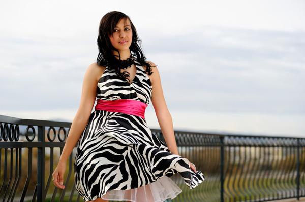 Teen girl in zebra prom dress