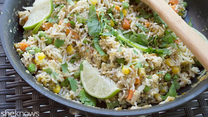 Healthier homemade fried rice with a