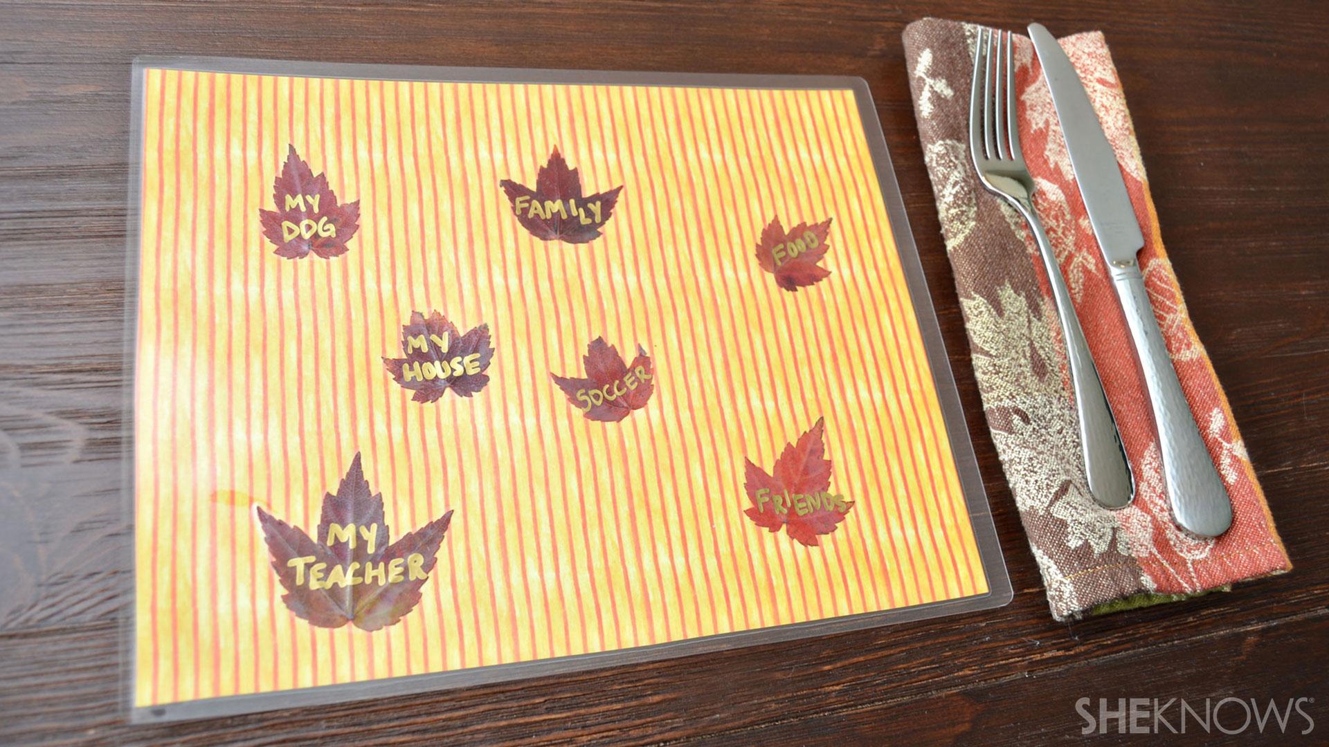 Gratitude placemats | Sheknows.com