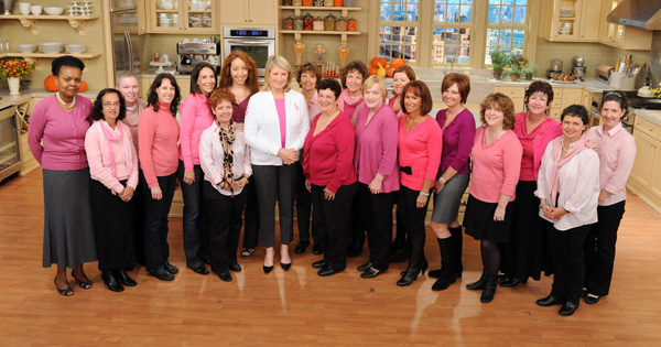 """Martha Stewart and a group of cancer survivors from her studio audience are seen in this photo from the production of """"The Martha Stewart Show"""" in New York on Tuesday, October 18, 2011."""