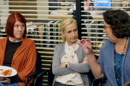 Angela Kinsey and the party planning committee on The Office
