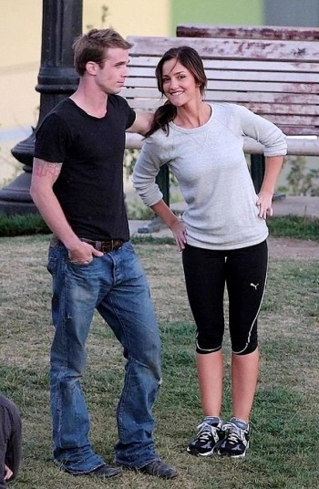 Cam and Minka on the set of The Roommate