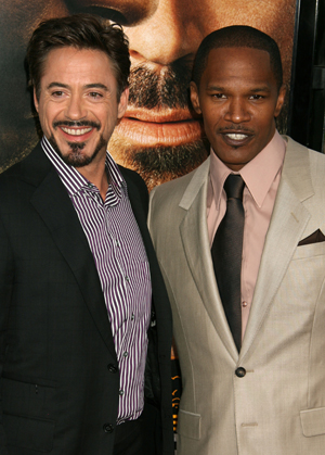 Robert Downey Jr and Jamie Foxx at The Soloist premiere in Hollywood