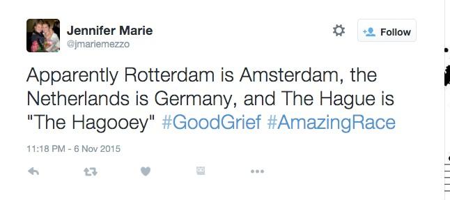 Amazing Race tweet from @jmariemezzo