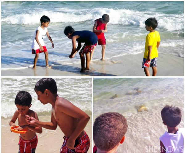 Tiany Davis' kids in the ocean