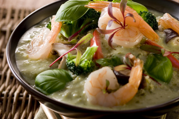 Tofu shrimp Thai green curry