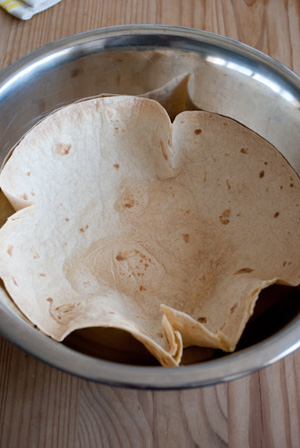 Tortilla in bowl cooked