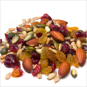 Trail mix with nuts and berries