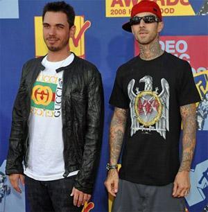 DJ AM and Travis Barker at the MTV awards in September 2008