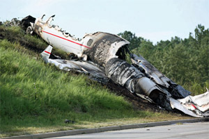 The plane wreckage from 9/19 crash with Travis Barker and DJ AM