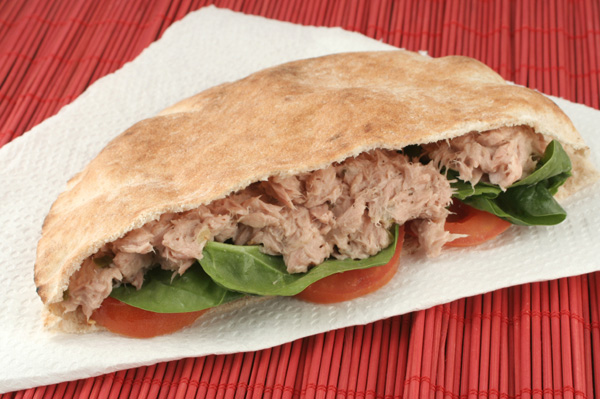Tuna pita pocket sandwich