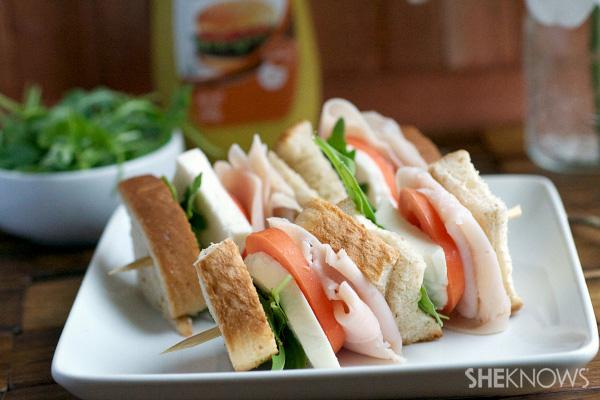 Turkey sandwich kebobs