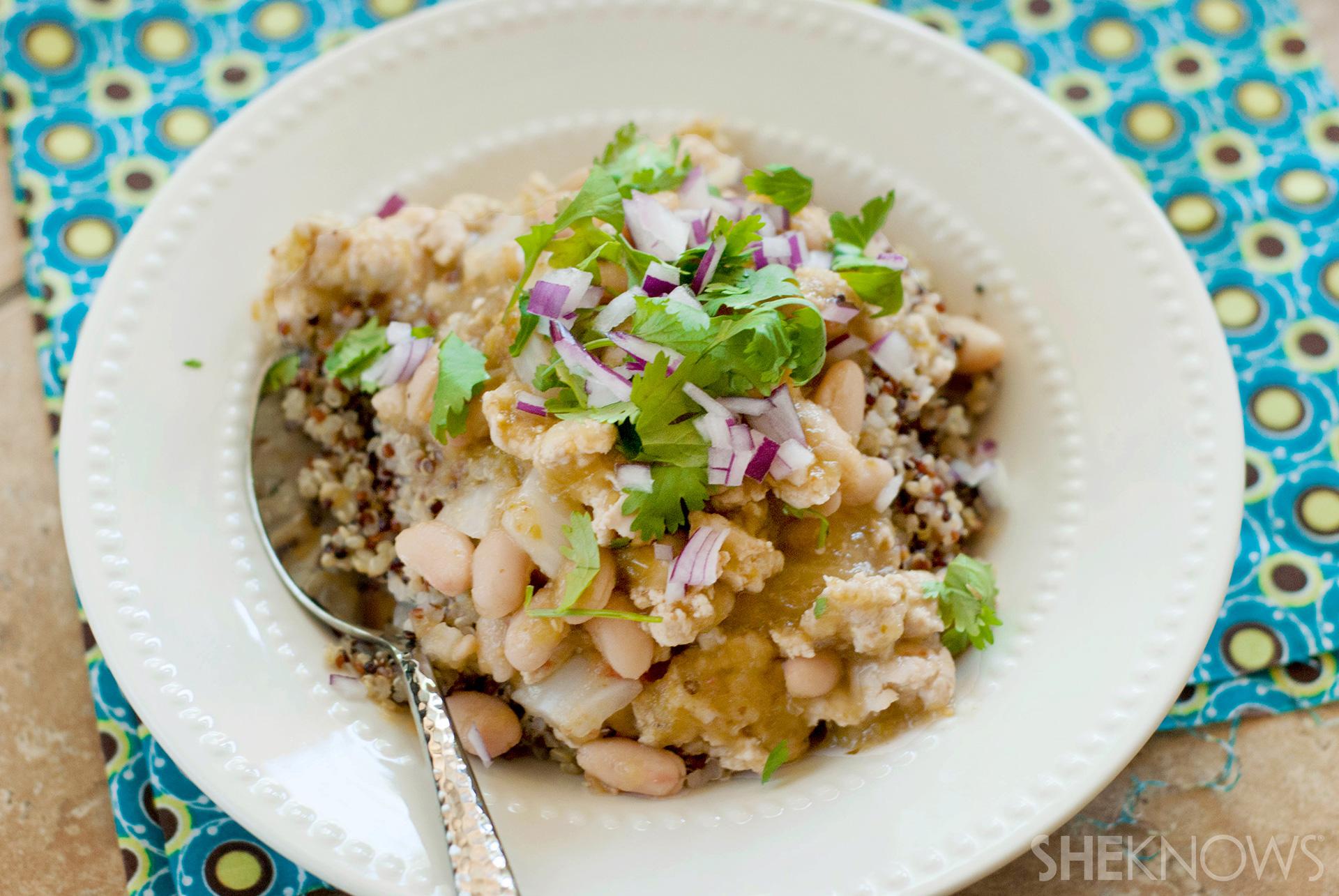 Spicy verde turkey chili over quinoa recipe