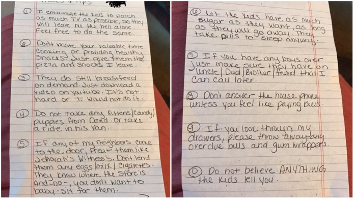 Mom Leaves Babysitter Hilarious Note and