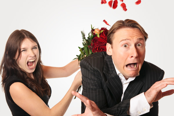 Unhappy couple on Valentine's Day