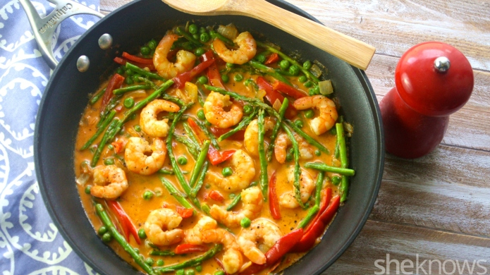One-pot curried shrimp with spring vegetables