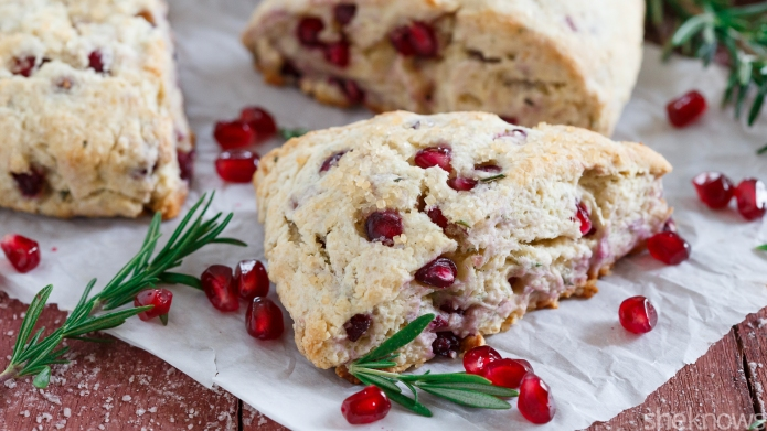 Pomegranate-rosemary scones pair perfectly with tea