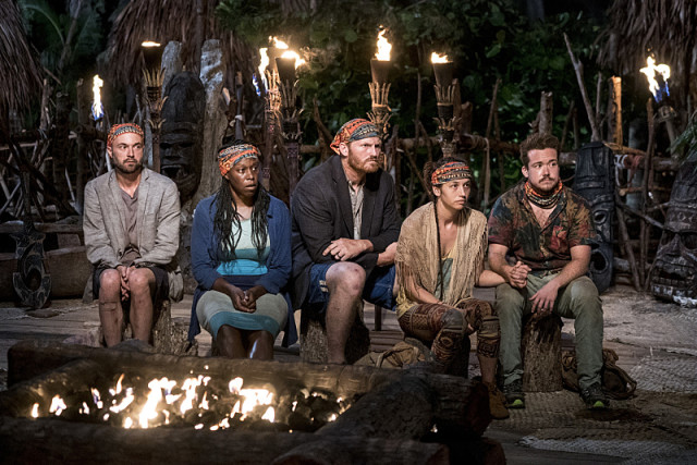 Newly formed Vanua tribe at Tribal Council on Survivor: Millennials Vs. Gen-X