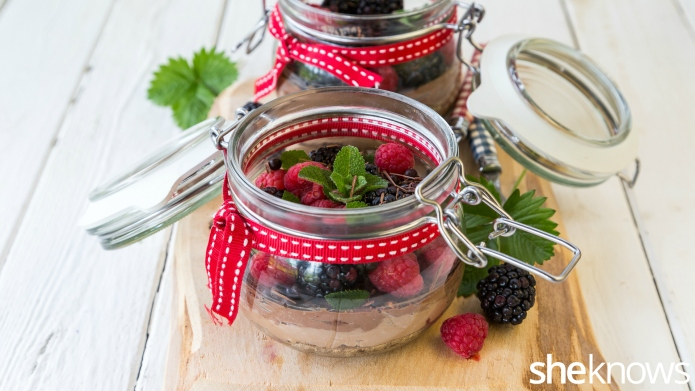 Double chocolate cheesecake in a jar