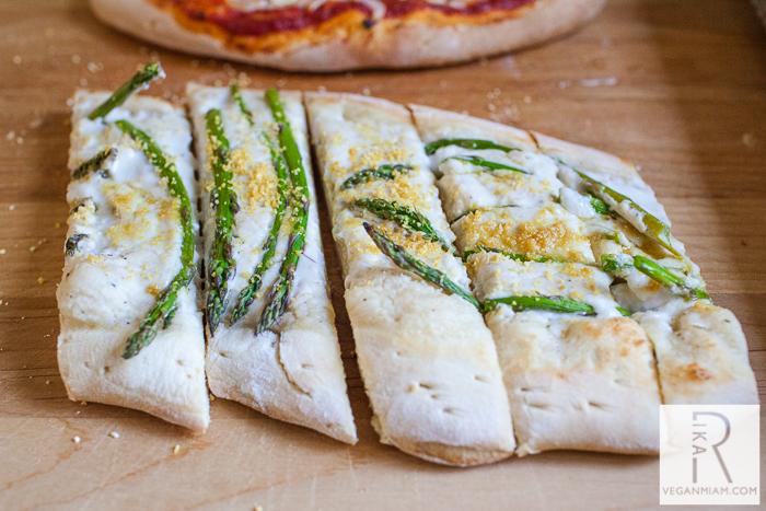 vegan asparagus alfredo pizza