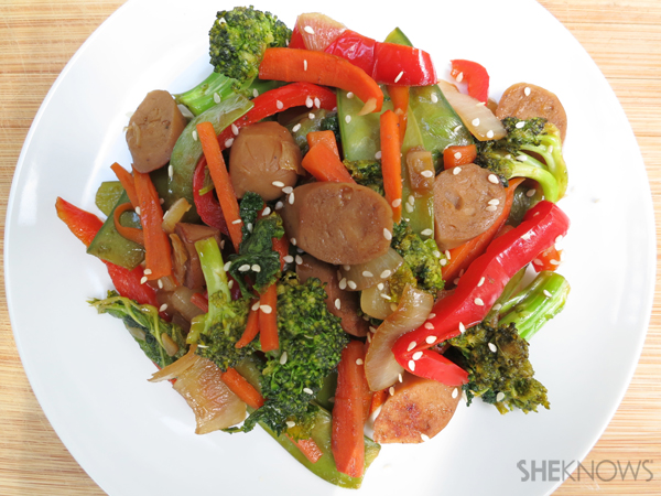 Vegan sausage with mixed vegetables