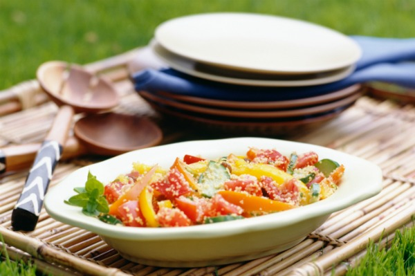 Vegetable salad at a picnic