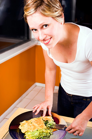 Woman Making Vegeterian Lasagna